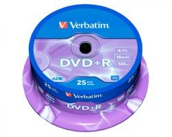 Verbatim 43500 DVD+R 43500, 4.7GB, 120 minuti, spindle da 25 DVD