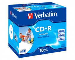 Verbatim 43325 CD-R 700MB, 80 minuti, printable, jewel case - conf. 10 pz