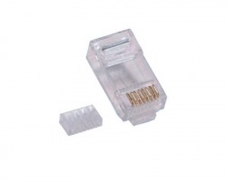 Connettore Plug RJ45 8 poli UTP Cat.6 non schermato con inseritore per cavo di rete flessibile, confezione 100 pz