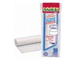 Sacchetti bianchi per il bagno, 35 x 50cm, in rotolo, capacita' 13lt, spessore 9ì - 20 strappi - 1conf.