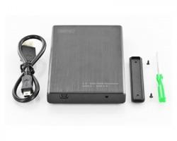 """Digitus Box esterno in alluminio nobile, con indicatore LED, per Hdd/ ssd 2.5"""" USB 2.0 - Colore nero"""