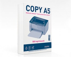 Favini A620505 Copy A5 - Carta bianca f.to A5 80 g 500ff - 1pz