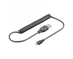 Cavo Micro USB 2.0 a spirale nero, 1mt