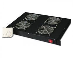 """Kit 4 ventole per armadio rack 19"""" 1U con termostato colore nero (RAL9005)"""