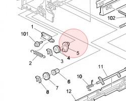 Ricoh AA080342 (AA080269) Boccola Frontale Per Registrazione Rullo originale