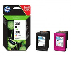 HP N9J72AE Pack inkjet nero + 3 colori originale (301)