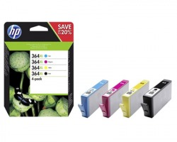 HP N9J74AE Pack inkjet nero + 3 colori originale (364XL)