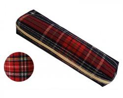 Astuccio portapenne in tessuto, fantasia scozzese in colori assortiti