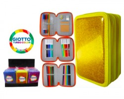 Astuccio Glitter a 3 zip fornito, contiene Giotto turbo color, tinta unita - Colori assortiti