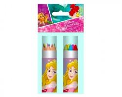 Disney Principesse colori in tubo da 12 pz, matite colorate + pastelli a cera