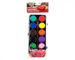 Cars colori ad acquerelli con pennellino, 12 colori