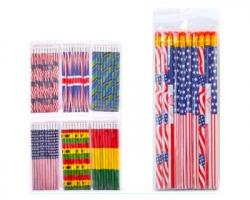 """Set da 10 matite con gomma """"Bandiere"""" misura 18.8 cm"""