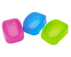 Portasaponetta trasparente in colori assortiti - Misure 15.5x10.5x4cm