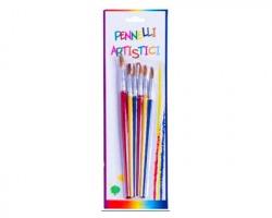 Pennelli Artistici in plastica assorti - confezione da 6 pennelli