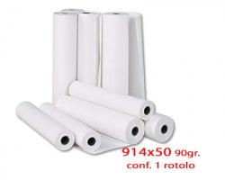 Roto D91P19 Rotolo in carta cellulosa opaca per plotter 914mm x 50m 90gr/m2- 1rot.