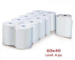 Roto A604040 Rotolo per bilancia, carta termica adesiva, 60mm x 40mt, foro ø40mm, conf. da 4pz