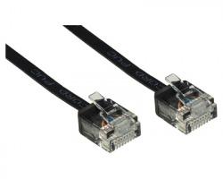 Cavo di rete patch UTP Cat.6a 3mt ultrapiatto con connettore salvaspazio, colore nero