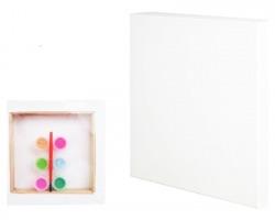 Kit Tela bianca da colorare misura 15x15cm + 6 acquerelli e 1 pennellino