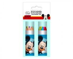 Disney Topolino colori in tubo da 12 pz, matite colorate + pastelli a cera
