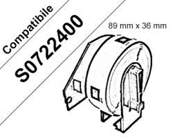 Dymo S0722400 Rotolo etichette adesive in carta compatibili, nero su bianco, misura 89mm x 36mm, 260 Etichette in rotolo