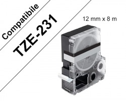 Brother TZE231 Nastro compatibile nero su bianco 12mm x 8m