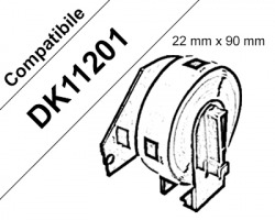 Brother DK11201 - 400 etichette adesive compatibili 29mm x 90mm BK/WH 1pz