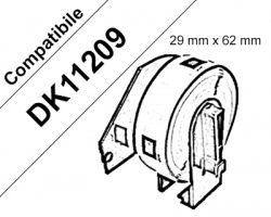 Brother DK11209 - 800 etichette adesive compatibili 29mm x 62mm BK/WH 1pz