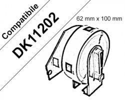 Brother DK11202 - 300 Etichette adesive compatibili 62mm x 100mm BK/WH 1pz