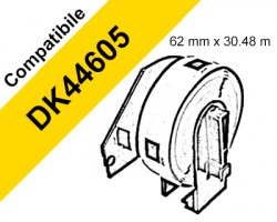 Brother DK44605 Nastro adesivo compatibile 62mm x 30.48m BK/YE 1pz