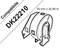 Brother DK22210 Nastro adesivo compatibile 29mm x 30.48m BK/WH 1pz