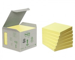 3M Post-It 654-1B Notes riciclati giallo 76 x 76mm 100ff - 6pz