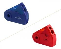 Faber-Castell 182701 Temperamatite sleeve 2 fori c/serbatoio blu/vinaccia - 1pz