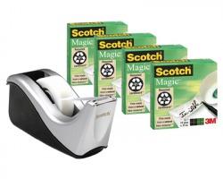 3M-Scotch C60-ST4 Dispenser silver + 4 rotoli scotch magic 810 19mm x 33m