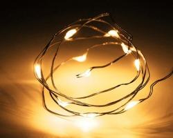 Minilucciole a batteria da interno, 10 LED a luce bianca calda, cavo in rame (50cm +30cm)