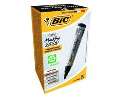 Bic 8209153 Marking 2000 - Marcatore nero permanente con punta tonda 1.7mm - conf.12pz