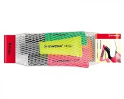 Stabilo 72/4-1 Neon - astuccio evidenziatori con inchiostro Neon a base d'acqua, ideale per carta, fotocopie e fax, tra
