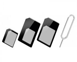 Kit 1x3 adattatore schede Nano, Micro e Sim per smartphone, con ferretto di apertura slot