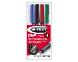 Etafelt 780 Hi text OHP marcatori 1x4 permanenti con punta fine, colori assortiti (20780OH004BEF)