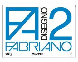 Fabriano 06200516 F2 - album da disegno blocco fabriano2, liscio, 4 angoli, 20 fogli 110gr, 24x33cm - 1pz