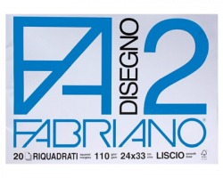 Fabriano 06201516 F2 - album da disegno blocco fabriano2, liscio, squadrato, 20 fogli 110gr, 24x33cm - 1pz