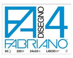 Fabriano 05200597 F4 - album da disegno blocco fabriano4, liscio, 20 fogli 220gr, 24x33cm - 1pz