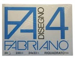 Fabriano 05201597 F4 - album da disegno blocco fabriano4, liscio, squadrato, 20 fogli 220gr, 24x33cm - 1pz