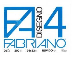 Fabriano 05000597 F4 - album da disegno blocco fabriano4, ruvido, 20 fogli 200gr, 24x33cm - 1pz