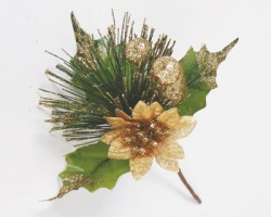 Decorazioni Natalizia rametto verde da 16cm, con stella di natale, bacche e foglie