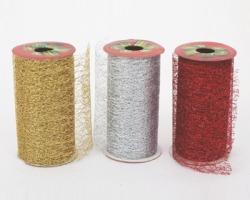 Nastro a rete misura 11cm x 2m, colori glitterati assortiti (oro, argento, rosso) - 1pz