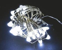 Cavo da 50 microled da interno colore bianco freddo, lungo 2.50m + 0.30cm, a batterie