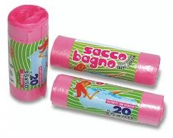 Sacco bagno rosa in rotolo con fascetta, profumato, misura 35x50cm, capacità 10l - 20pz