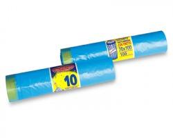 Sacchetti azzurri in rotolo con tiretto, misura 70x100cm, capacità 100l, conf. da 10pz