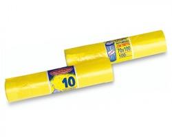 Sacchetti gialli in rotolo con tiretto, misura 70x100cm, capacità 100l, conf. da 10pz