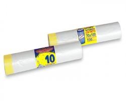 Sacchetti trasparenti n rotolo con tiretto, misura 70x100cm, capacità 100l, conf. da 10pz